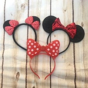 Set of 3 Red Minnie Mouse Headbands